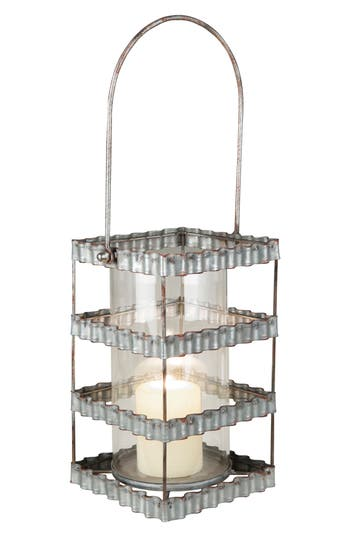 Foreside Ribbon Pillar Candle Holder, Size One Size - Metallic