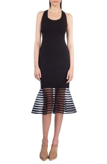 Akris Punto American Stripe Tulle Hem Sheath Dress, Black