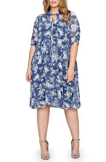 Plus Size Michel Studio Tie Neck Floral Shift Dress, Blue