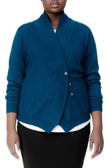 Plus Size Universal Standard Curved Merino Wool Cardigan, Blue