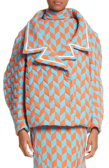 Women's Richard Malone Quilted Short Coat, Size Small - Orange