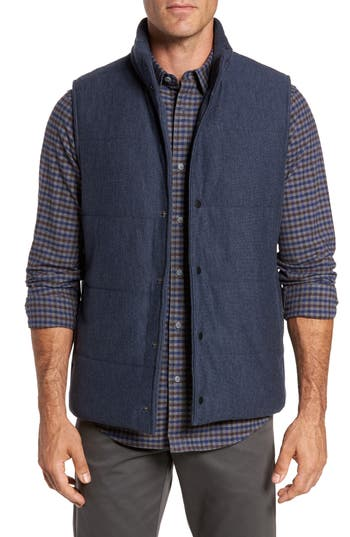 Men's Nordstrom Men's Shop Quilted Fleece Vest, Size Medium - Blue