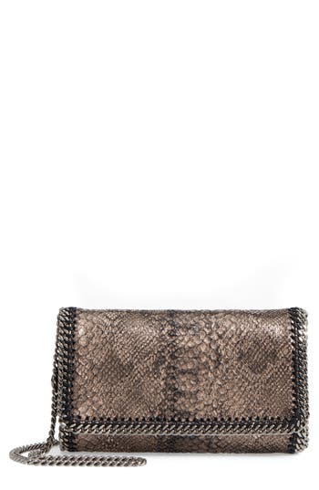 Stella Mccartney Fallabella Metallic Python Print Faux Leather Crossbody Bag - Metallic
