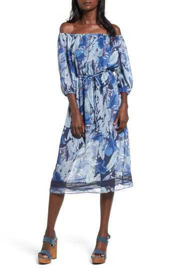Tularosa Marty Floral Print Off The Shoulder Midi Dress, Blue