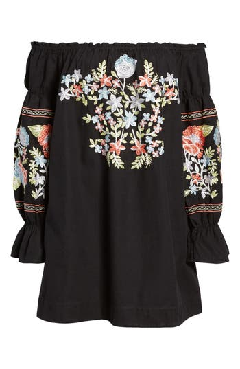 Free People Fleur Du Jour Shift Dress, Black