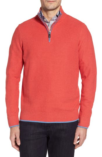 Tailorbyrd Sorrel Tipped Quarter Zip Sweater, Coral