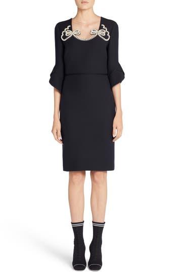 Fendi Embellished Wool & Silk Gazar Dress, 8 IT - Black