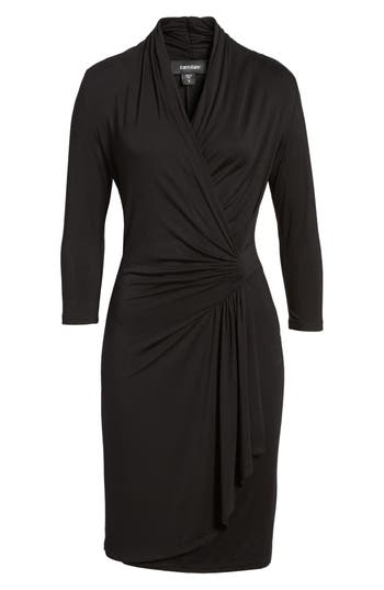 Karen Kane Cascade Faux Wrap Dress, Black