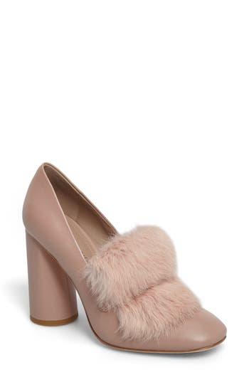 Donald J Pliner Faune Genuine Rabbit Fur Pump, Pink