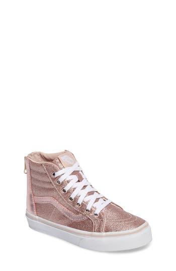 Girls Vans Sk8Hi Zip Glitter Sneaker Size 2 M  Pink