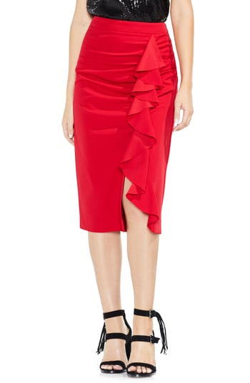 Vince Camuto Front Ruffle Crepe Ponte Pencil Skirt, Red