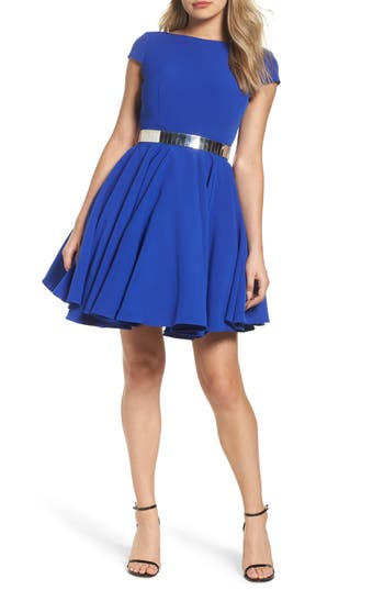 Ieena For MAC Duggal Belted Open Back Fit & Flare Dress, Blue