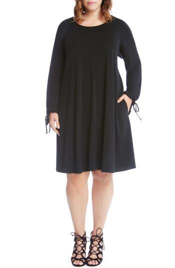 Plus Size Karen Kane Tie-Sleeve Shift Dress, Black
