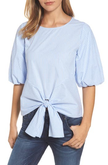 Women's Gibson Bubble Sleeve Tie Front Top, Size X-Small - Blue