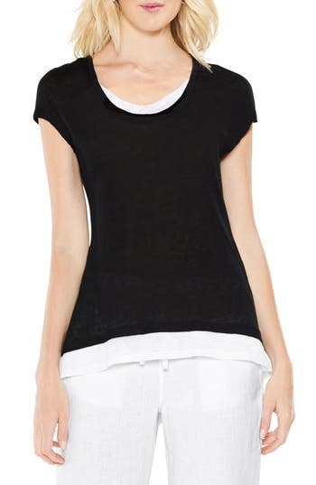 Two By Vince Camuto Colorblocked Linen Top, Black
