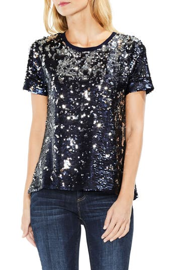Two By Vince Camuto Sequin Knit Tee, Blue