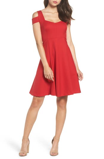 Felicity & Coco Pearl Cold Shoulder Fit & Flare Dress, Red