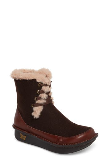 Alegria Twisp Lace-Up Boot With Faux Fur Lining, Brown