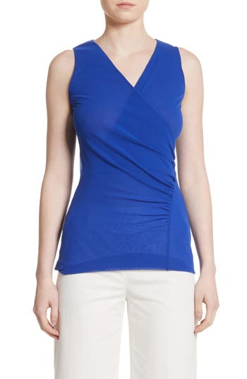 Fuzzi Ruched Tulle Tank, Blue