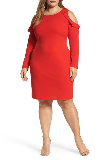 Plus Size Glamorous Cold Shoulder Knit Sheath Dress, Red