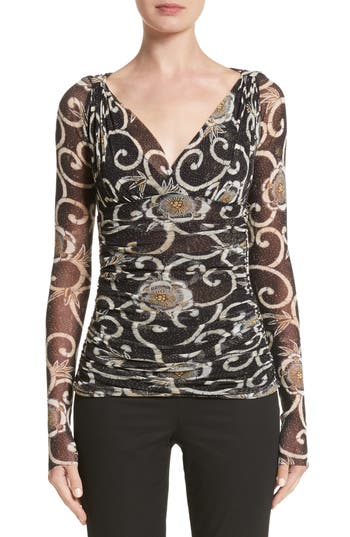 Fuzzi Print Tulle Ruched Top, Black
