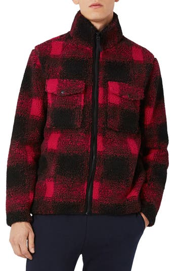 Topman Buffalo Check Borg Jacket, Red