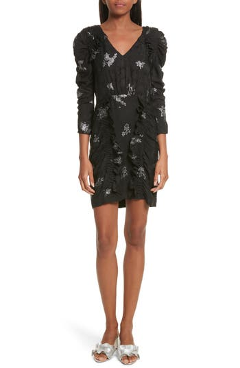 Rebecca Taylor Glitter Jacquard Silk Dress, Black
