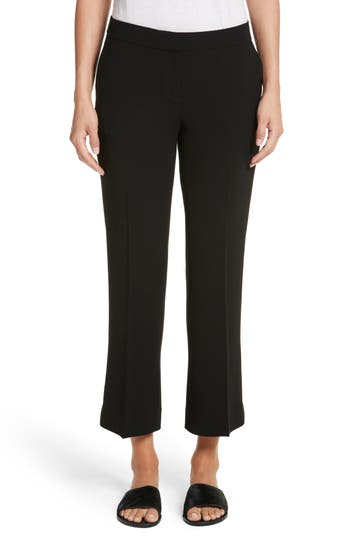 Lafayette 148 New York Manhattan Finesse Crepe Crop Flare Pants, Black