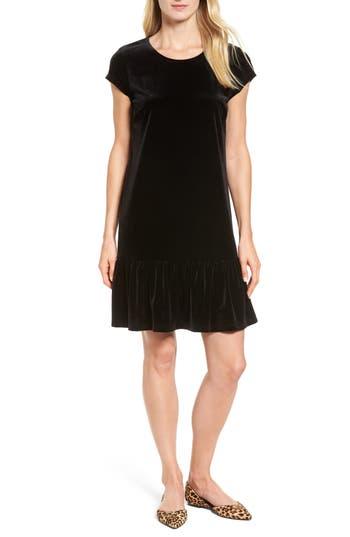 Halogen Drop Ruffle Velvet Dress, Black