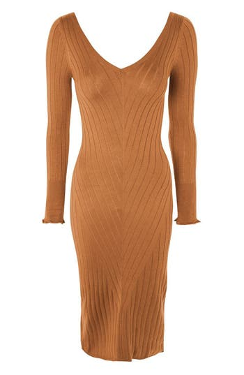 Topshop Double V-Neck Ribbed Midi Dress, US (fits like 0) - Beige
