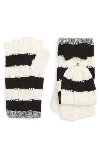Kate Spade New York Stripe Convertible Knit Mittens, Size One Size - Black
