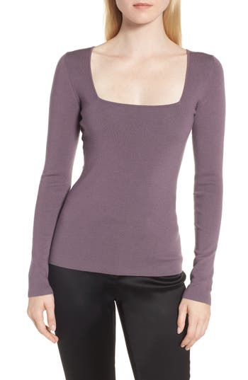 Lewit Square Neck Merino Wool Blend Sweater, Purple