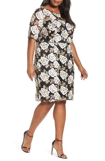 Plus Size Adrianna Papell Madelin Embroidered Sheath Dress, Black