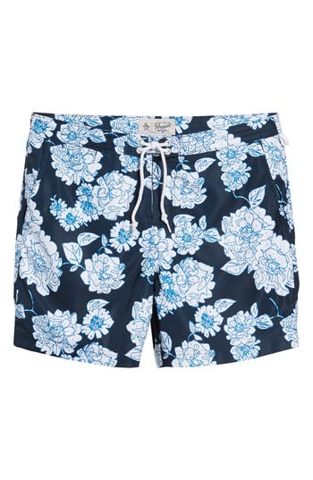 Original Penguin Color By Numbers Swim Trunks, Blue