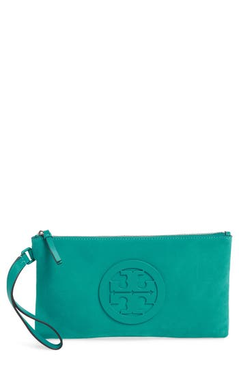 Tory Burch Charlie Suede Wristlet Clutch - Green at NORDSTROM.com