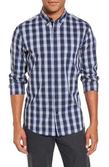Nordstrom Shop Spade Tech-Smart Trim Fit Check Sport Shirt, Blue