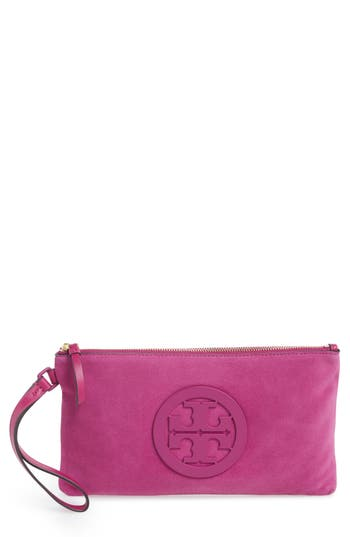 Tory Burch Charlie Suede Wristlet Clutch - Pink at NORDSTROM.com