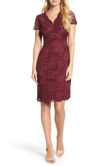 Ellen Tracy Lace Sheath Dress, Burgundy