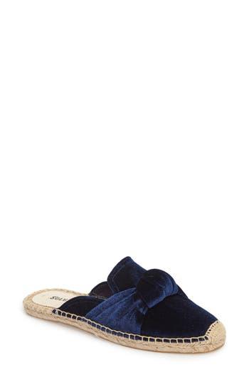 Soludos Knotted Velvet Loafer Mule, Blue