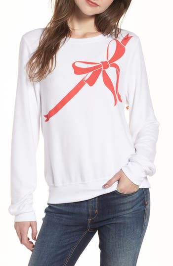 Women's Wildfox Gift Wrapped Sweatshirt, Size XX-Small - White