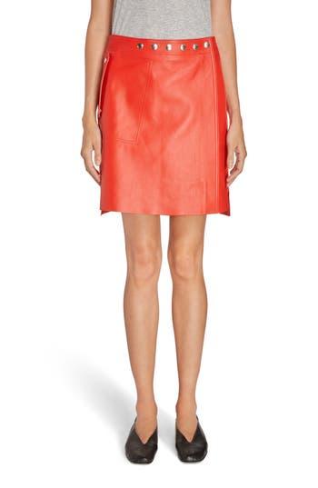 Women's Acne Studios Shirin Leather Miniskirt, Size 2 US / 32 EU - Red