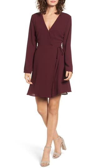 Lush Elly Wrap Dress, Burgundy