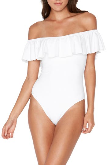 L Space Off The Shouder One-Piece Swimsuit, White