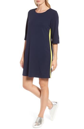Halogen Twill Tape Trim Knit Dress, Blue