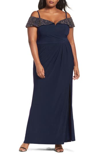 Plus Size Xscape Embellished Off The Shoulder Gown, Blue