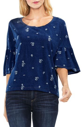 Two By Vince Camuto Ruched Drop Shoulder Delicate Top, Blue