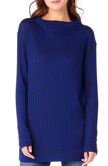 Michael Stars Cowl Neck Ribbed Top, Size One Size - Blue