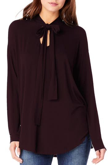 Michael Stars Tie Neck Blouse, Size One Size - Burgundy