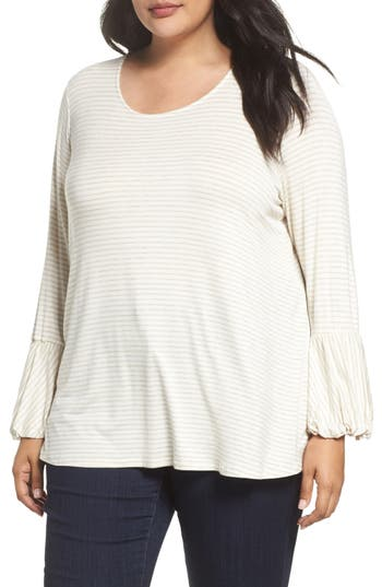 Plus Size Women's Bobeau Ruffle Cuff Stripe Top, Size 1X - Ivory