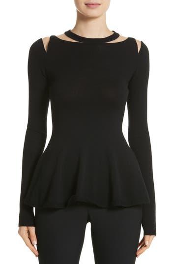 Women's Oscar De La Renta Illusion Cutout Peplum Sweater, Size X-Small - Black